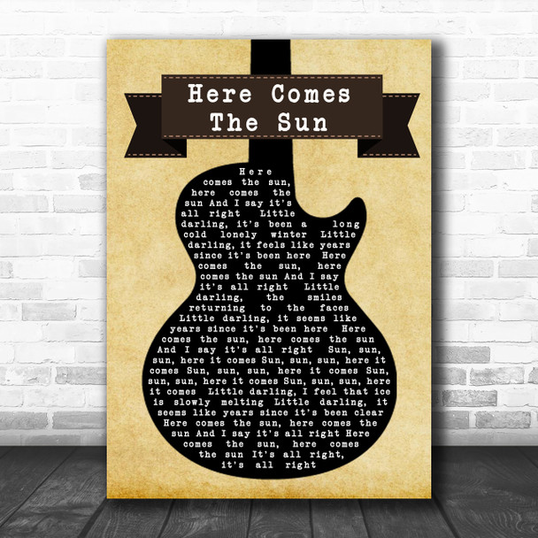 The Beatles Here Comes The Sun Black Guitar Song Lyric Music Wall Art Print