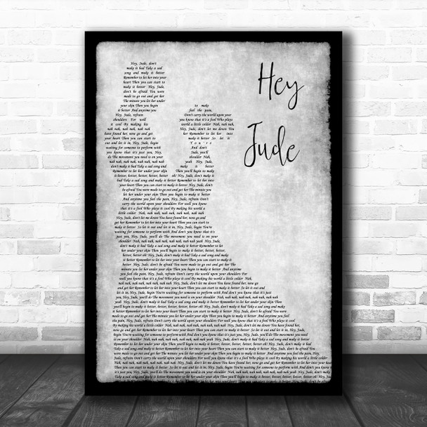 The Beatles Hey Jude Grey Song Lyric Man Lady Dancing Quote Print