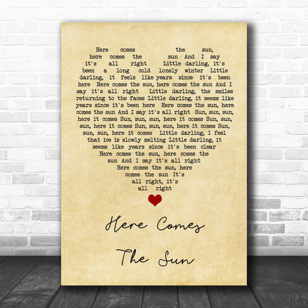 Here Comes The Sun The Beatles Vintage Heart Song Lyric Music Wall Art Print