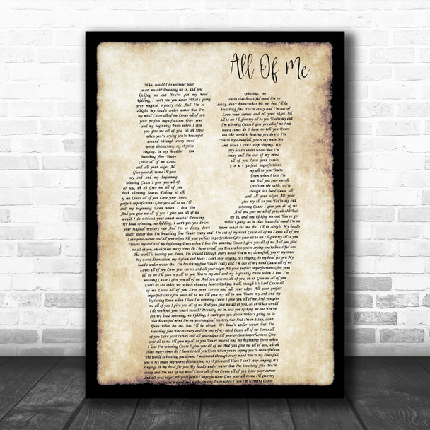 John Legend All Of Me Gay Couple Two Men Dancing Decorative Wall Art Gift Song Lyric Print