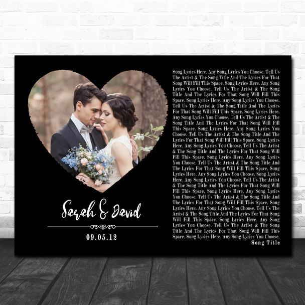 Black Landscape Script Heart Wedding Photo Any Song Lyric Wall Art Print