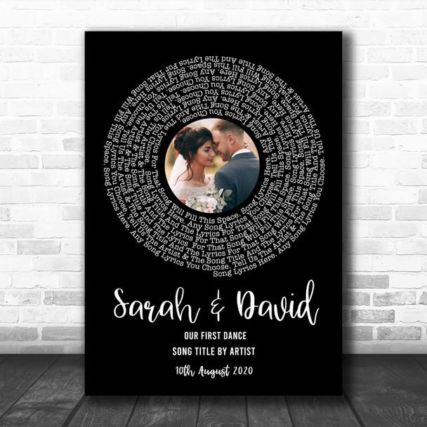 Black Vinyl Record Wedding First Dance Photo Any Song Lyric Wall Art Print
