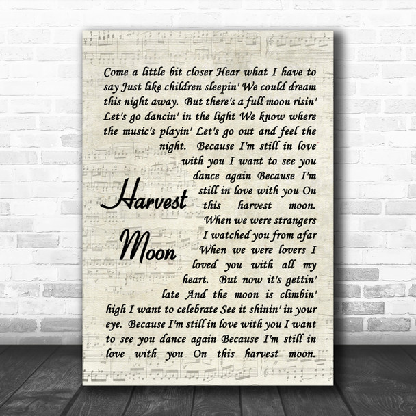 Neil Young Harvest Moon Song Lyric Music Wall Art Print