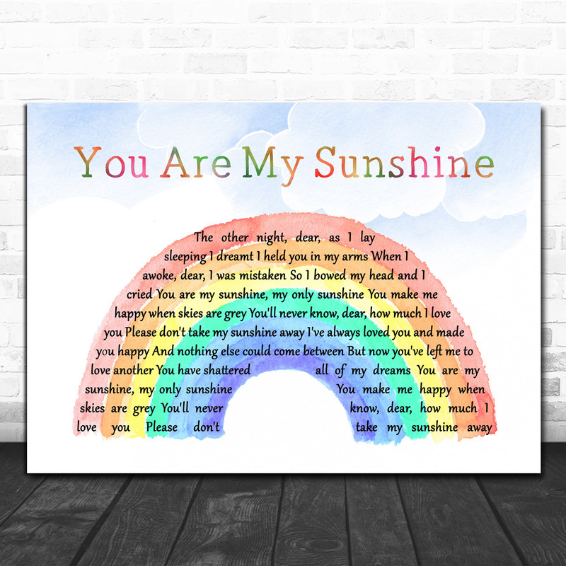 Johnny Cash You Are My Sunshine Watercolour Rainbow & Clouds Song Lyric Quote Music Print