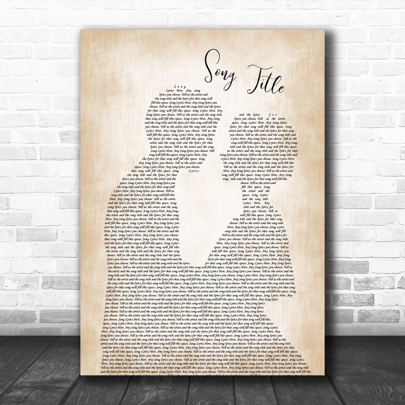 Any Song Lyrics Custom Man & Lady Wall Art Personalized Lyrics Music Wall Art Print