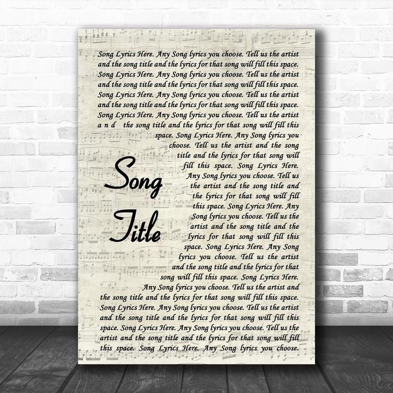 Any Song Lyrics Custom Vintage Script Wall Art Personalized Lyrics Music Wall Art Print