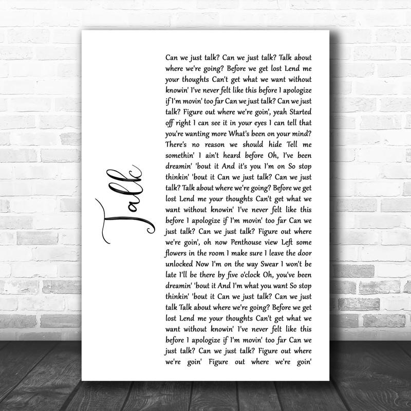 Khalid Talk White Script Song Lyric Wall Art Print