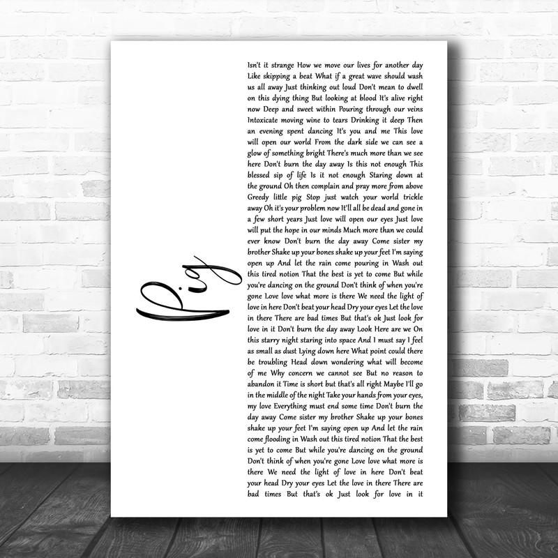 Dave Matthews Band Pig White Script Song Lyric Music Art Print