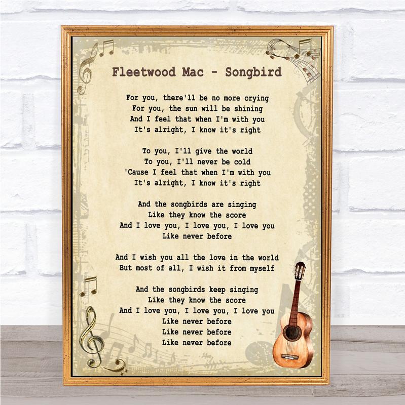 Fleetwood Mac Songbird Song Lyric Vintage Music Wall Art Print