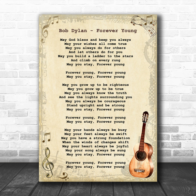 Bob Dylan Forever Young Song Lyric Vintage Music Wall Art Print