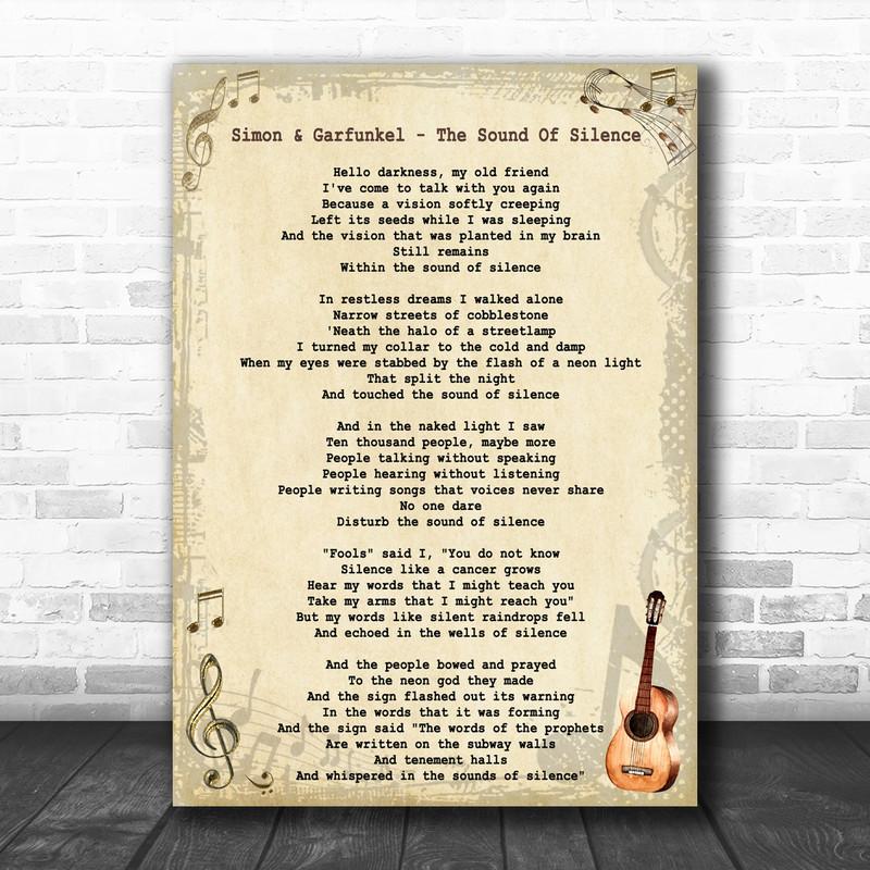 Simon & Garfunkel - The Sound Of Silence Song Lyric Guitar Music Wall Art Print