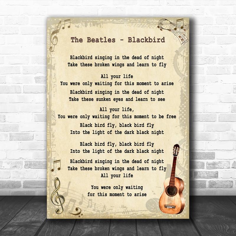 The Beatles Blackbird Song Lyric Vintage Music Wall Art Print