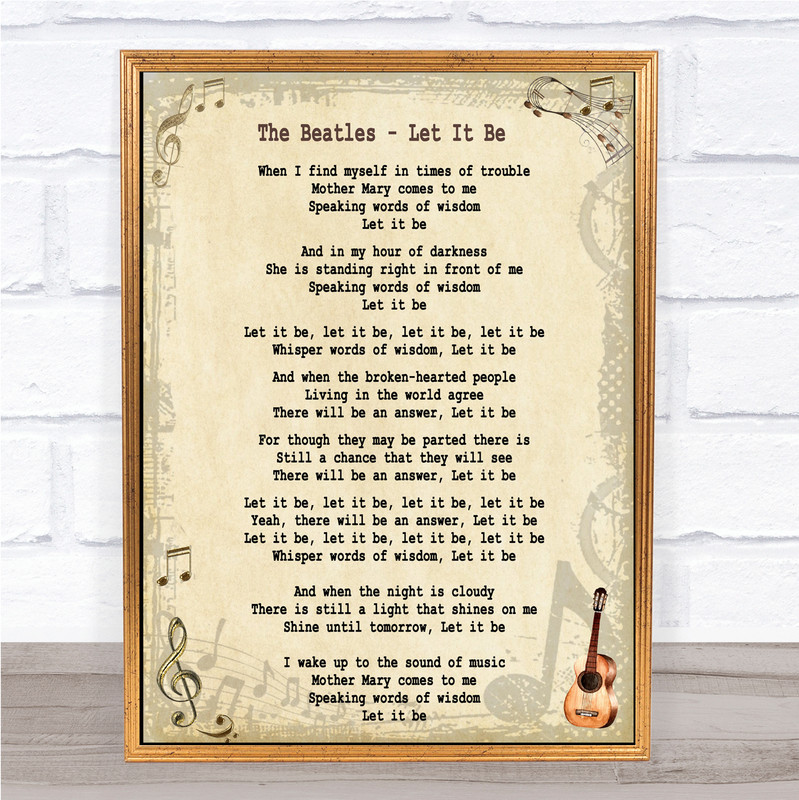 The Beatles Let It Be Song Lyric Music Wall Art Print