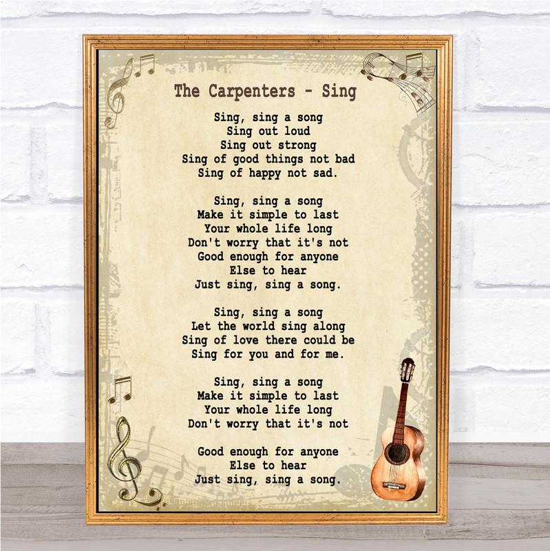 The Carpenters Sing Song Lyric Vintage Music Wall Art Print