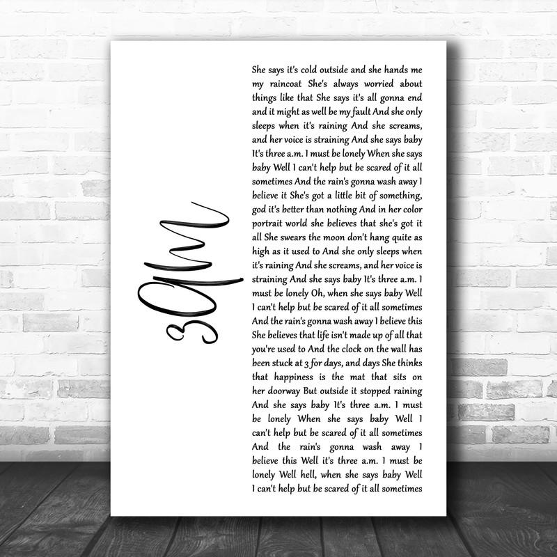 Matchbox Twenty 3AM White Script Song Lyric Art Print