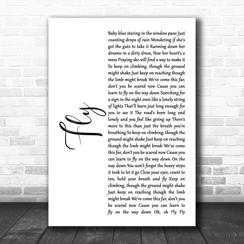 Maddie & Tae Fly White Script Song Lyric Art Print