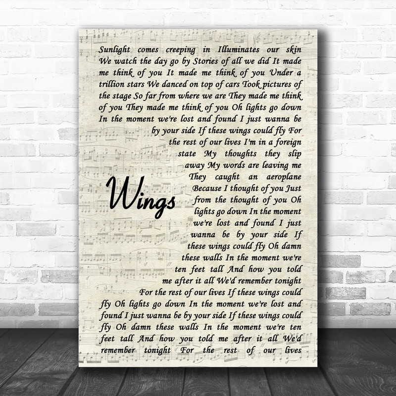 Birdy Wings Vintage Script Song Lyric Music Wall Art Print