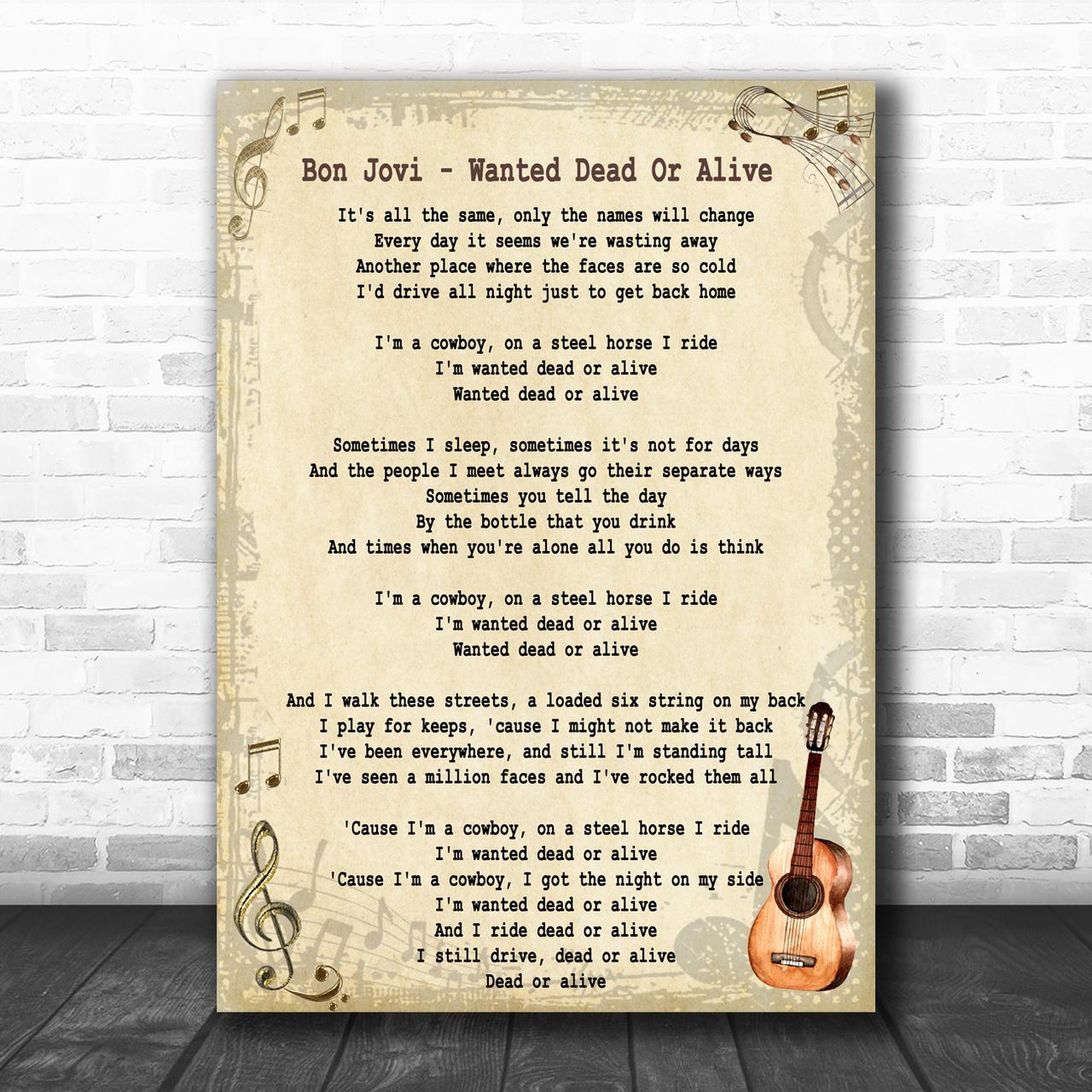 A3 Size BON JOVI LYRICS 2 Song  Music Art Poster #11