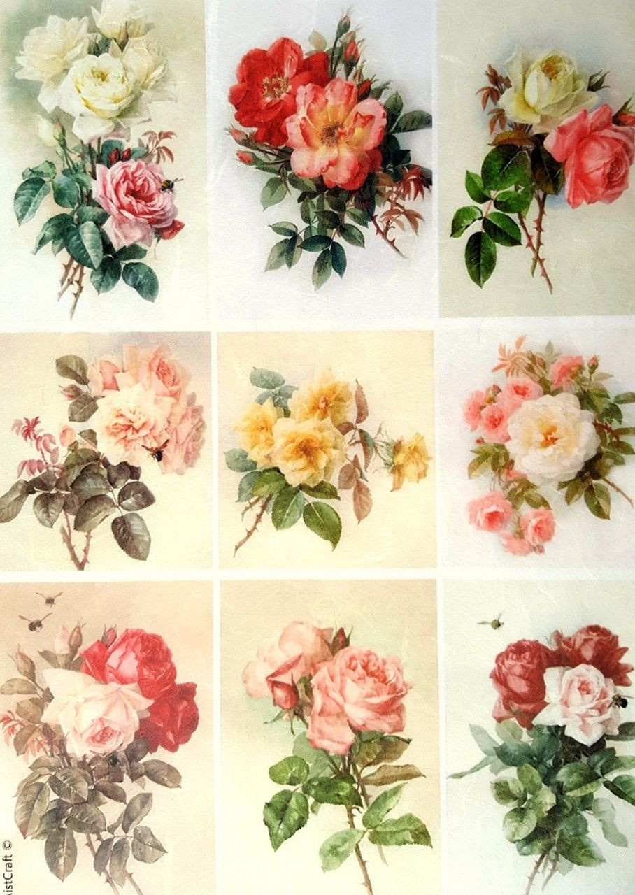 Scrapbooking Sheet Craft Vintage Light Roses Mix Rice Paper for Decoupage