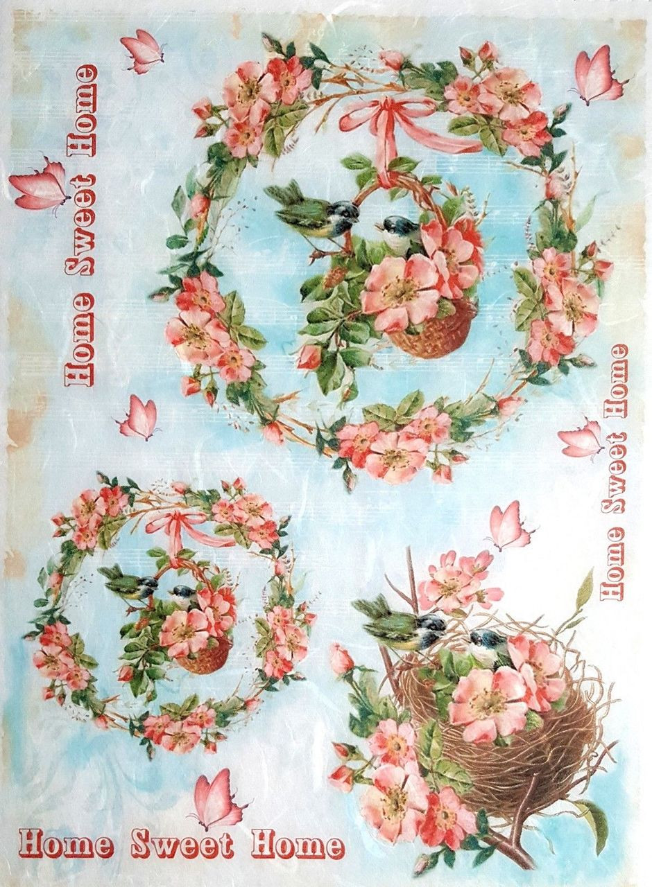 Rice Paper for Decoupage Scrapbook Craft Sheet Home is where is the heart is