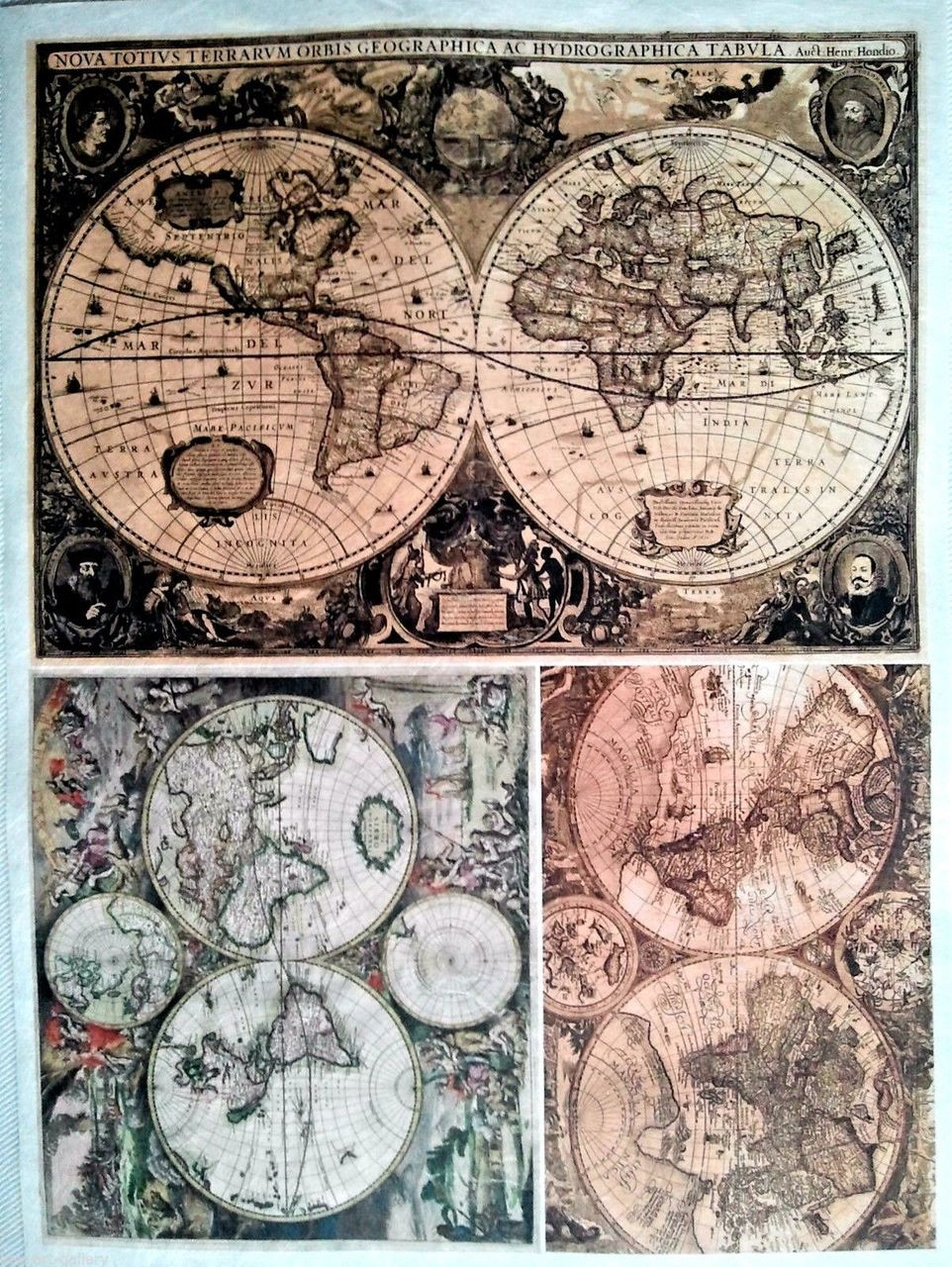 Rice Paper for Decoupage Craft Vintage, Sheet A4 - Old Maps