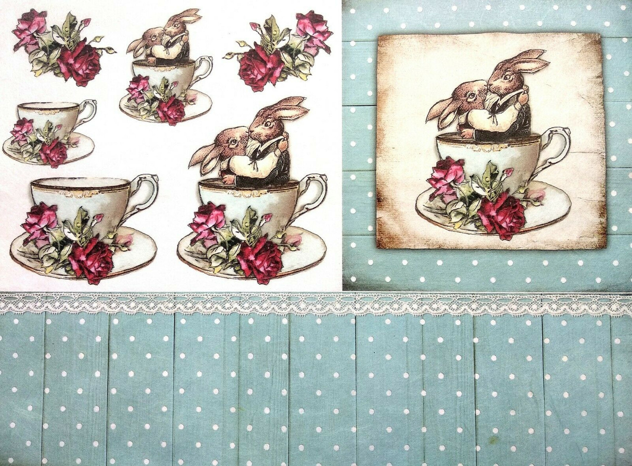 Rabbits and Tea for Decoupage Scrapbooking Sheet of Rice Paper