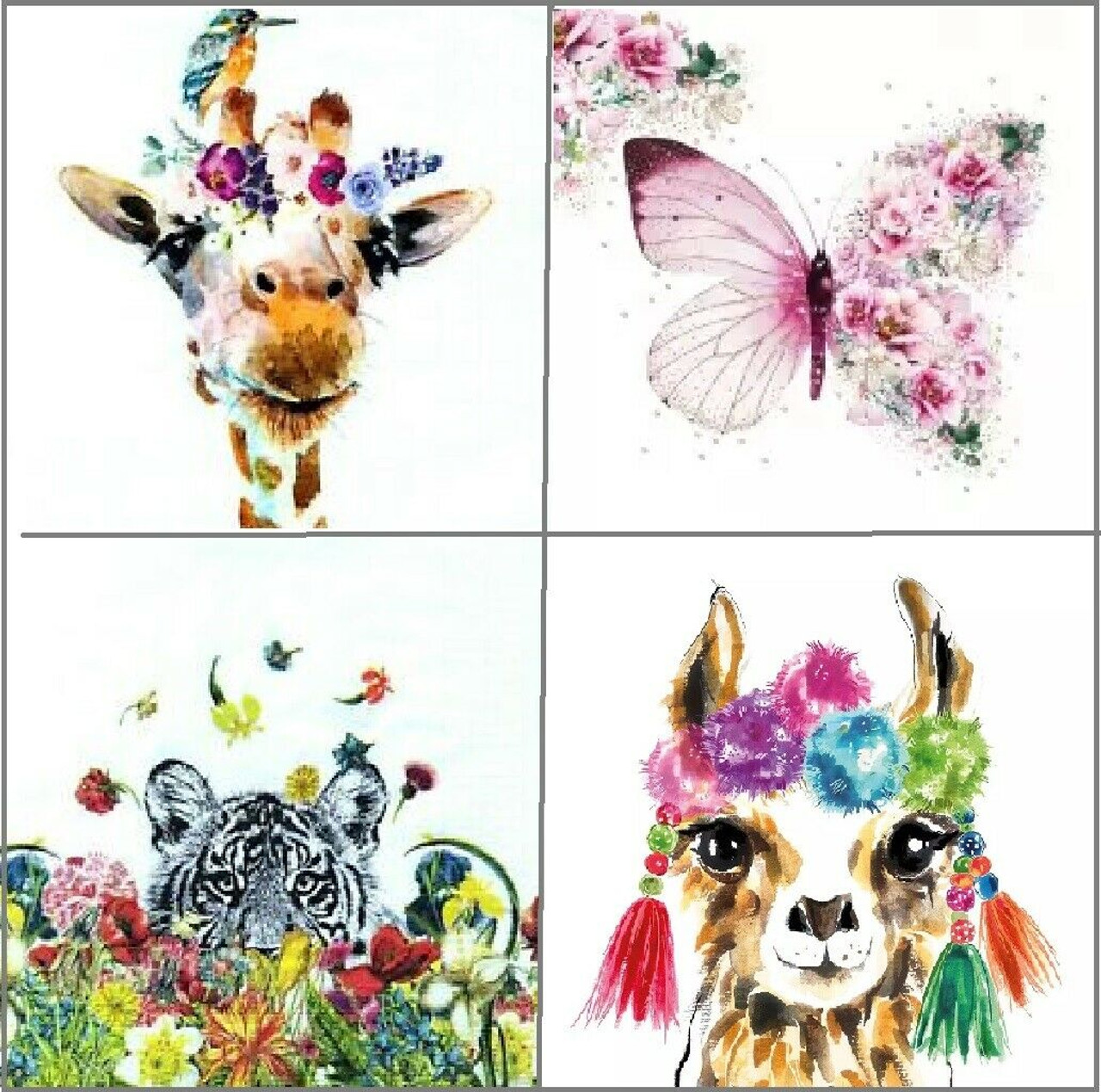 4 Different Vintage Table Paper Napkins For Party Lunch Decoupage Funny Animals Kayartgallery Decoupage