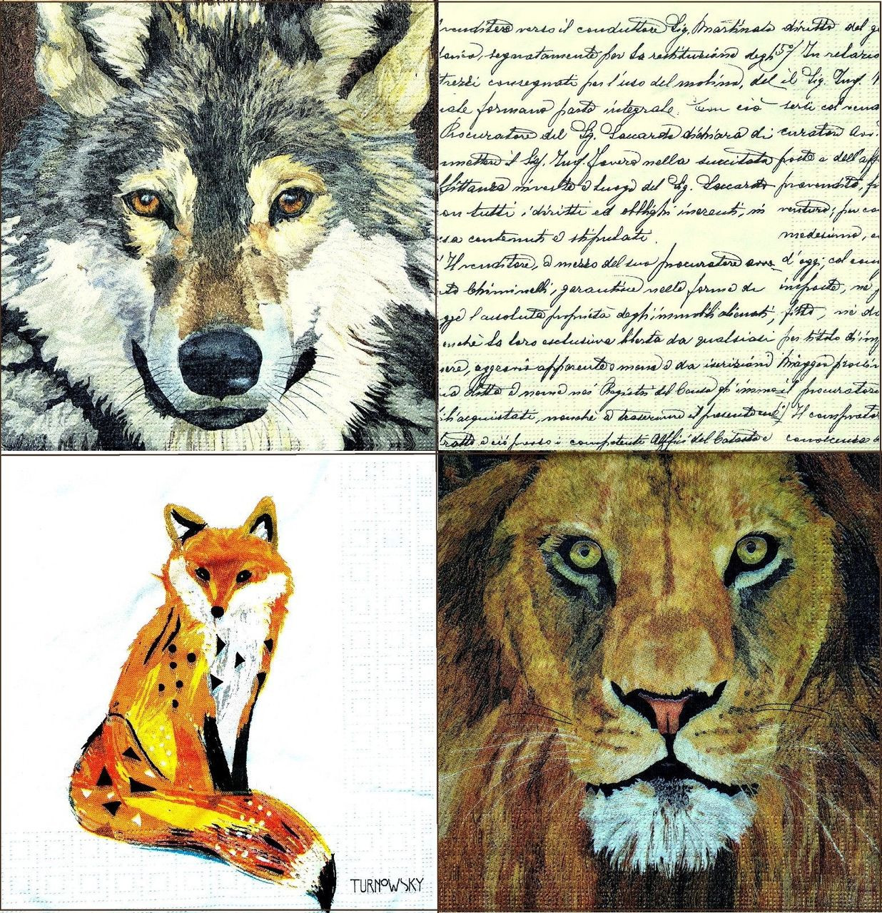 Animals Floral 2//2 Party 4 Different Designs Lunch Paper Napkins for Decoupage