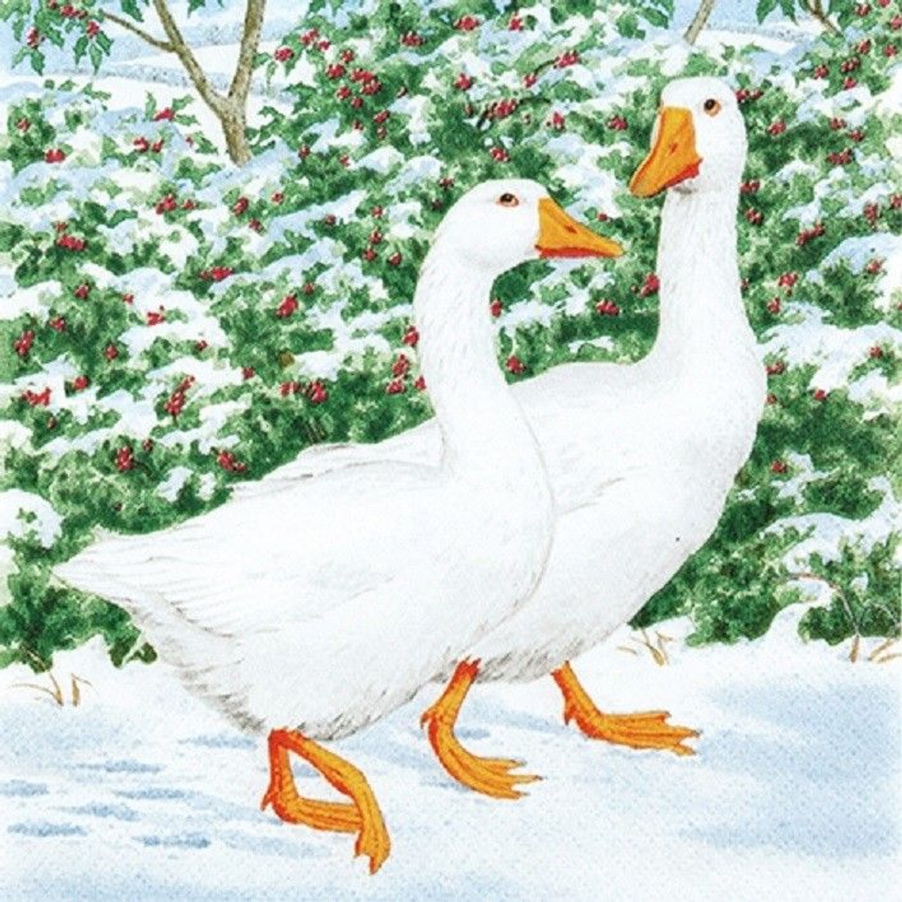 4 Lunch Paper Napkins for Decoupage Craft Vintage Napkins   Geese Couple