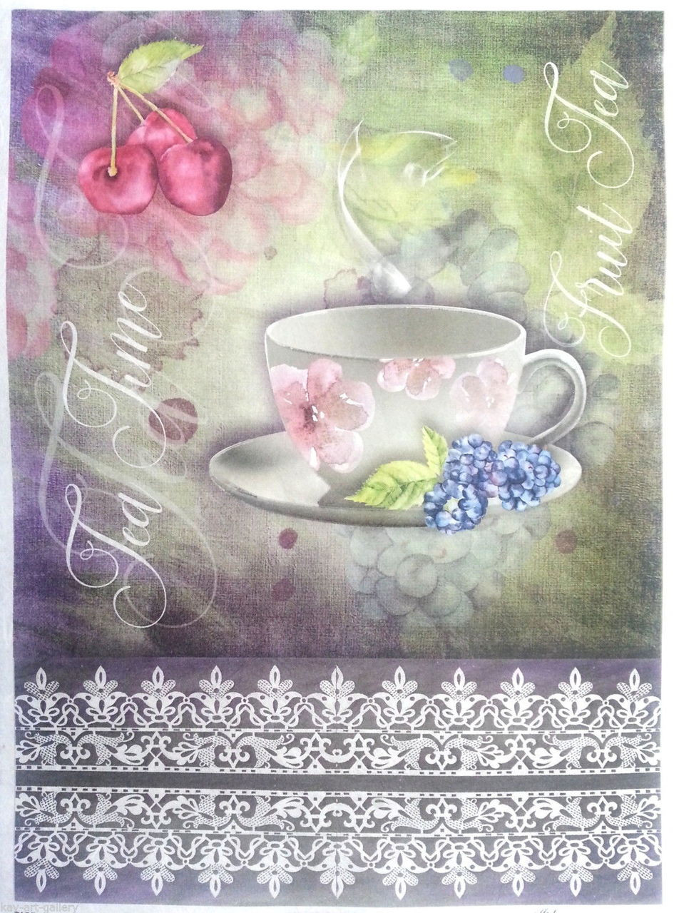 Rice Paper for Decoupage Scrapbooking Sheet Vintage Cup of Tea