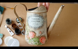 Decoupage Tutorial - Metal Watering Can decoupage using rice papers and chalk paints by KayArtGallery