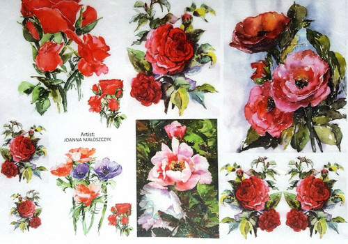 1  Sheet  of Rice Paper for Decoupage Craft Vintage  - Bouquets of flowers