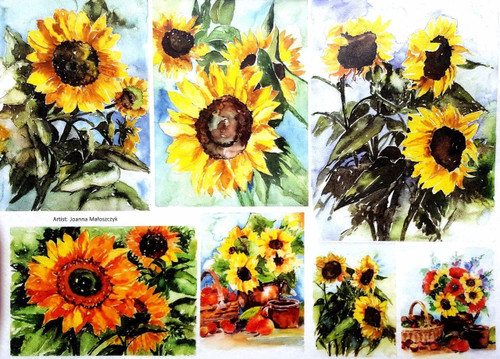 1  Sheet  of Rice Paper for Decoupage Craft Vintage  - Painting Sunflowers