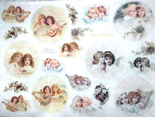 1  Sheet  of Rice Paper for Decoupage Craft Vintage  -  Baubles Motives 6