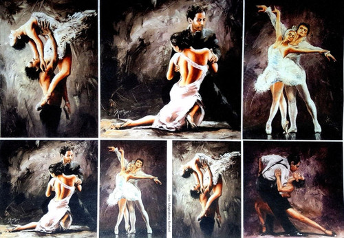 1  Sheet  of Rice Paper for Decoupage Craft Vintage  - Painting Ballet