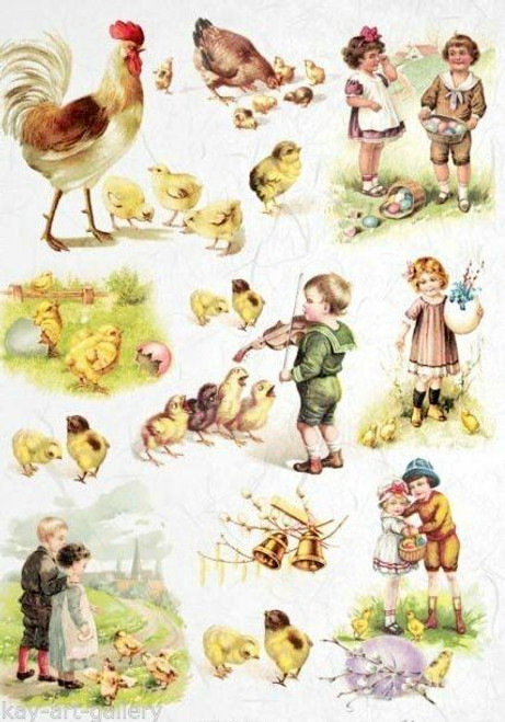 1  Sheet  of Rice Paper for Decoupage Craft Vintage  - Spring Easter 5