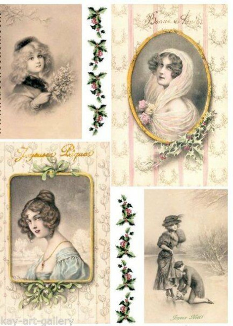 1  Sheet  of Rice Paper for Decoupage Craft Vintage  - Photos of Ladies