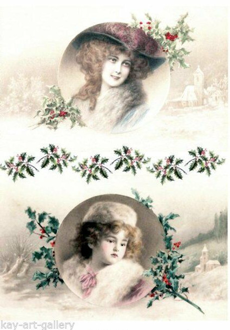 1  Sheet  of Rice Paper for Decoupage Craft Vintage  - Photos of Ladies 2
