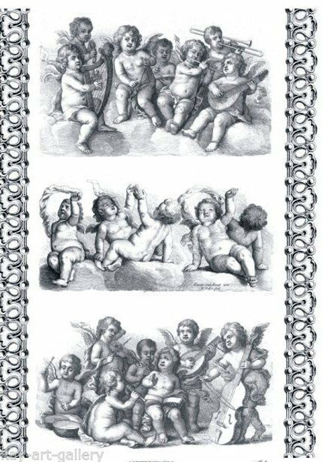 1  Sheet  of Rice Paper for Decoupage Craft Vintage  -  Angels Baroque