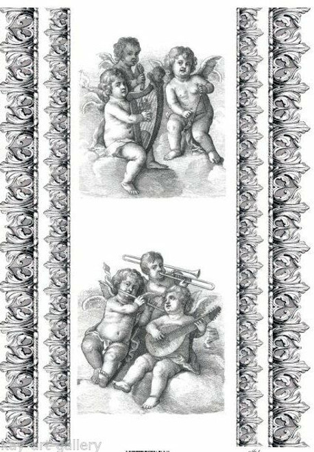1  Sheet  of Rice Paper for Decoupage Craft Vintage  -  Angels Baroque 1