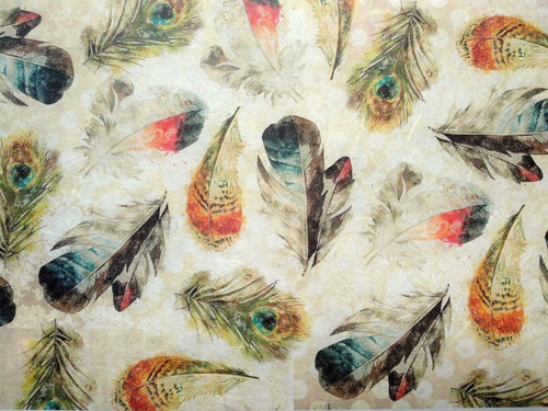 1  Sheet  of Rice Paper for Decoupage Craft Vintage  -  Colorful Feathers
