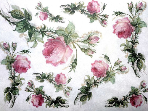 1  Sheet  of Rice Paper for Decoupage Craft Vintage  - Vintage Pink Roses