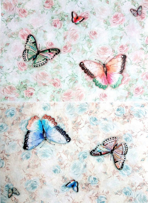 1  Sheet  of Rice Paper for Decoupage Craft Vintage  -  Colorful Butterflies