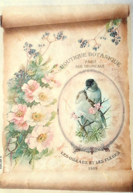 1  Sheet  of Rice Paper for Decoupage Craft Vintage  -   Botanique