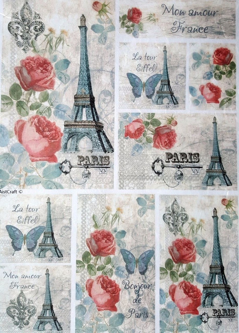 1  Sheet  of Rice Paper for Decoupage Craft Vintage  -   Paris Collage