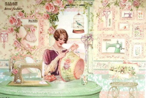1  Sheet  of Rice Paper for Decoupage Craft Vintage  -   Lady Craft Work