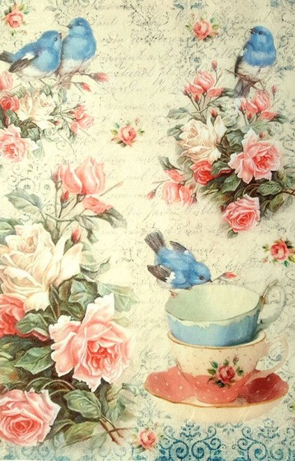 1  Sheet  of Rice Paper for Decoupage Craft Vintage   - Blue Little Birds