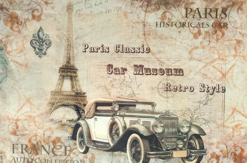 1  Sheet  of Rice Paper for Decoupage Craft Vintage   -  Car Museum