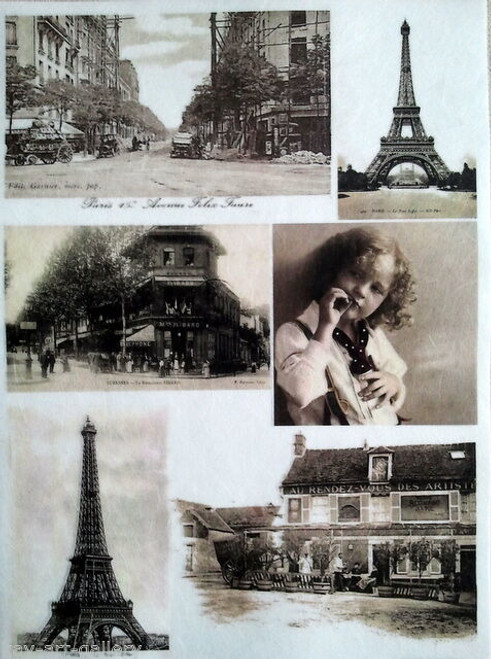 1  Sheet  of Rice Paper for Decoupage Craft Vintage   -  Vintage Paris Collage