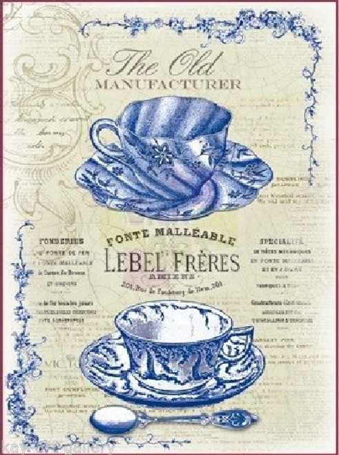 1  Sheet  of Rice Paper for Decoupage Craft Vintage   -   Tea Blue